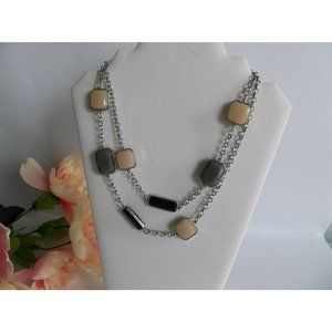 Chicos Necklace Silvertone LONG Fall Colors Tan